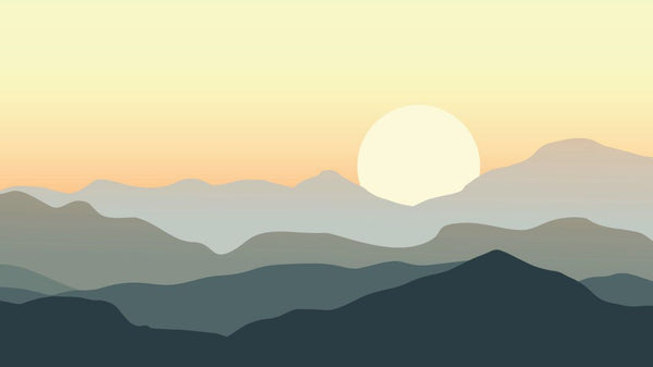 Misty Mountain Sunset Impression -  unique single-piece wallpaper from Pattern and Picture