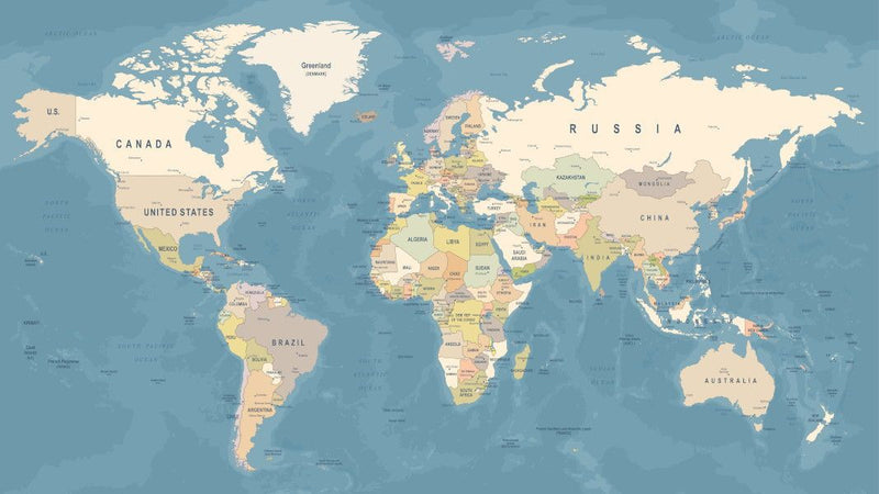 Modern World Map -  unique single-piece wallpaper from Pattern and Picture