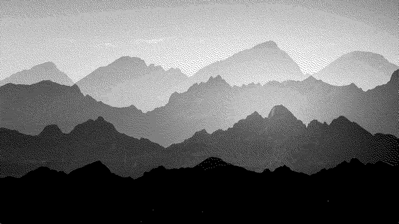 Monochrome Mountains -  unique single-piece wallpaper from Pattern and Picture