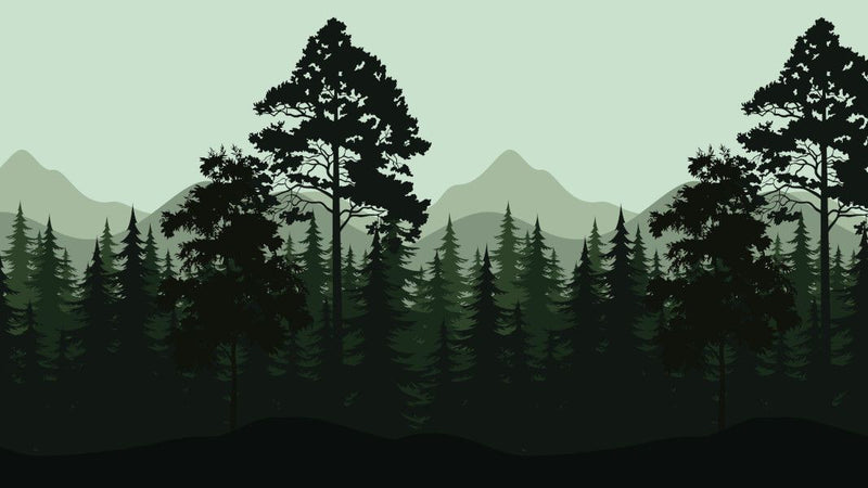 Mountain Forest - Green -  unique single-piece wallpaper from Pattern and Picture