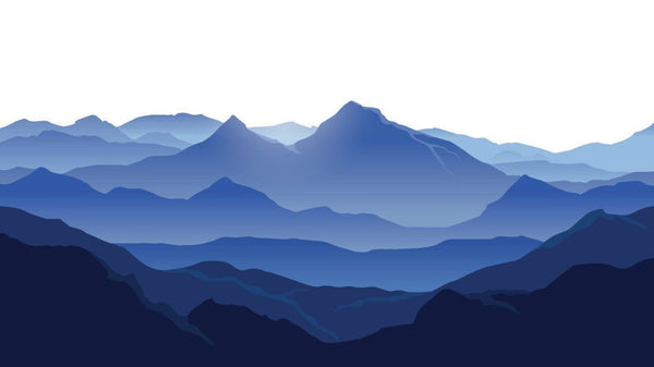 Navy Mountain Contour -  unique single-piece wallpaper from Pattern and Picture
