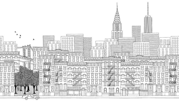 New York Ink Skyline Black and White -  wall murals from Pattern and Picture