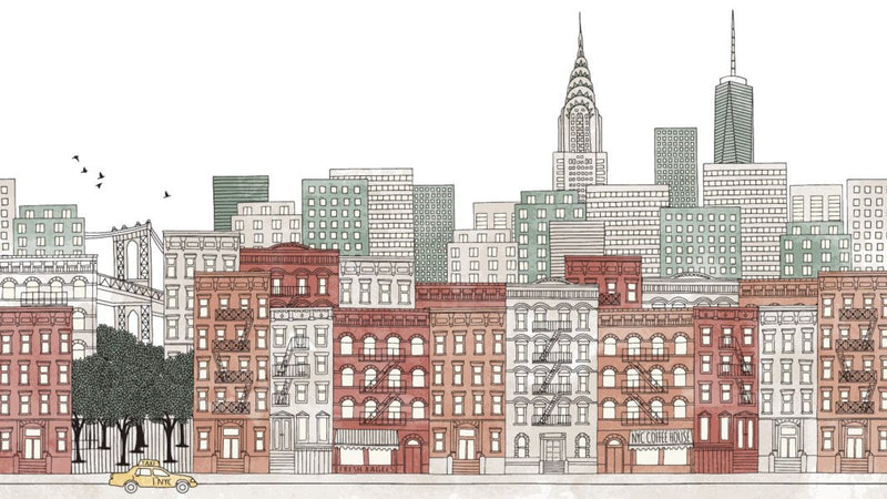 New York Ink Skyline Colour -  wall murals from Pattern and Picture