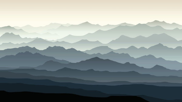 Ombre Mountain Contour -  unique single-piece wallpaper from Pattern and Picture
