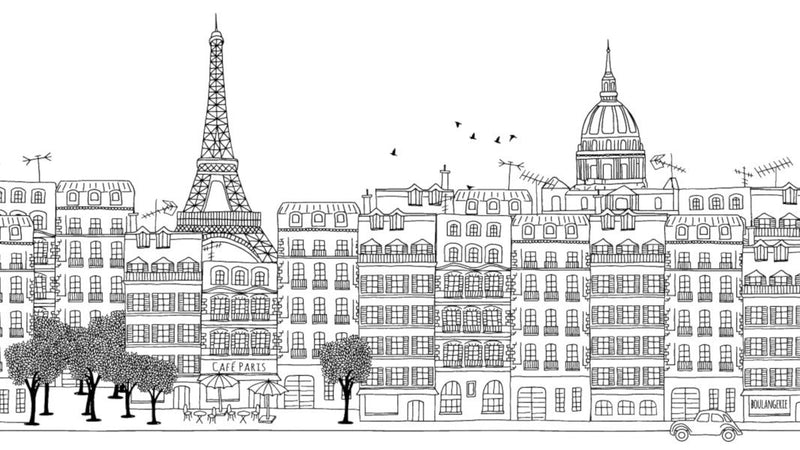Paris Ink Skyline Black and White -  wall murals from Pattern and Picture