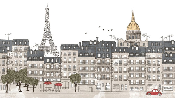 Paris Ink Skyline Colour -  wall murals from Pattern and Picture