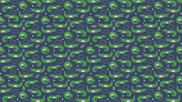 Patterned Crocodile Rock in Blue
