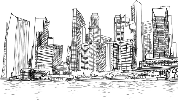 Pen and Ink City -  unique single-piece wallpaper from Pattern and Picture