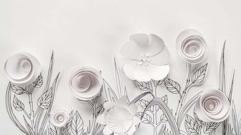 Pure Paper Garden -  unique single-piece wallpaper from Pattern and Picture