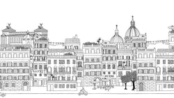 Rome Ink Skyline Black and White -  wall murals from Pattern and Picture