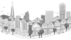 San Francisco Ink Skyline Black and White -  wall murals from Pattern and Picture