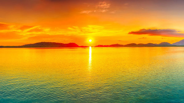 Seascape Sunset - Sun Centre -  unique single-piece wallpaper from Pattern and Picture