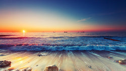 Sunrise Waves and Ships -  unique single-piece wallpaper from Pattern and Picture