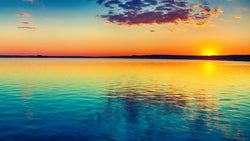 Sunset Over the Lake - Sun Right -  unique single-piece wallpaper from Pattern and Picture
