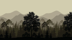 Trees and Mountains -  unique single-piece wallpaper from Pattern and Picture