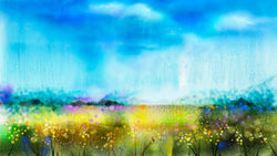 Watercolour Wildflower Landscape -  unique single-piece wallpaper from Pattern and Picture