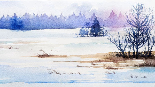 Winter Snowy Scene Watercolour -  unique single-piece wallpaper from Pattern and Picture