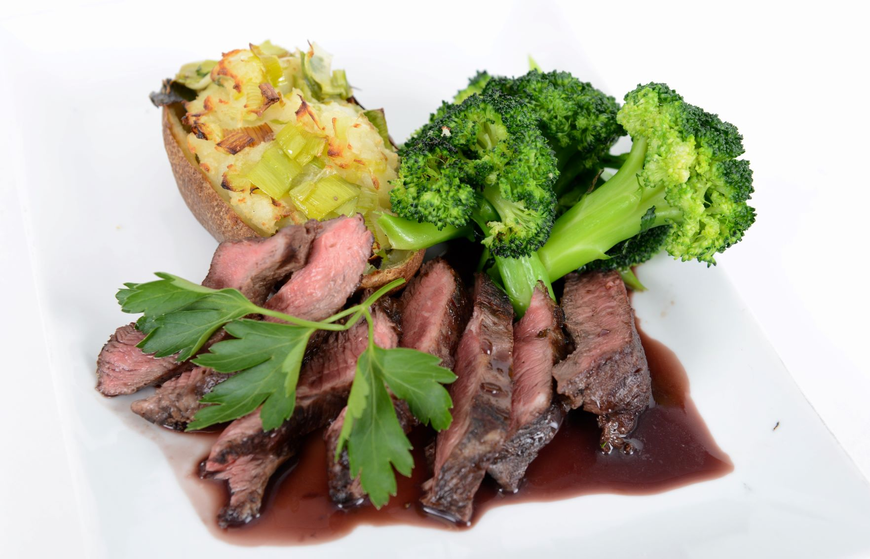 Flat Iron Steak w/ Red Wine Demi-Glaze