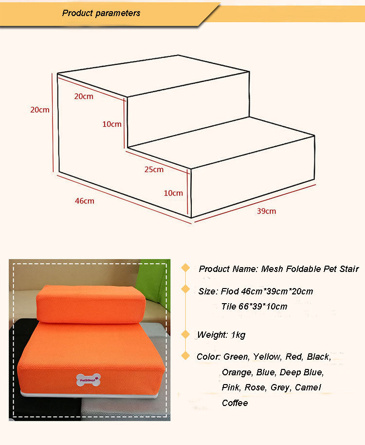 Foldable MeshDog Ramp/Stairs for small dogs