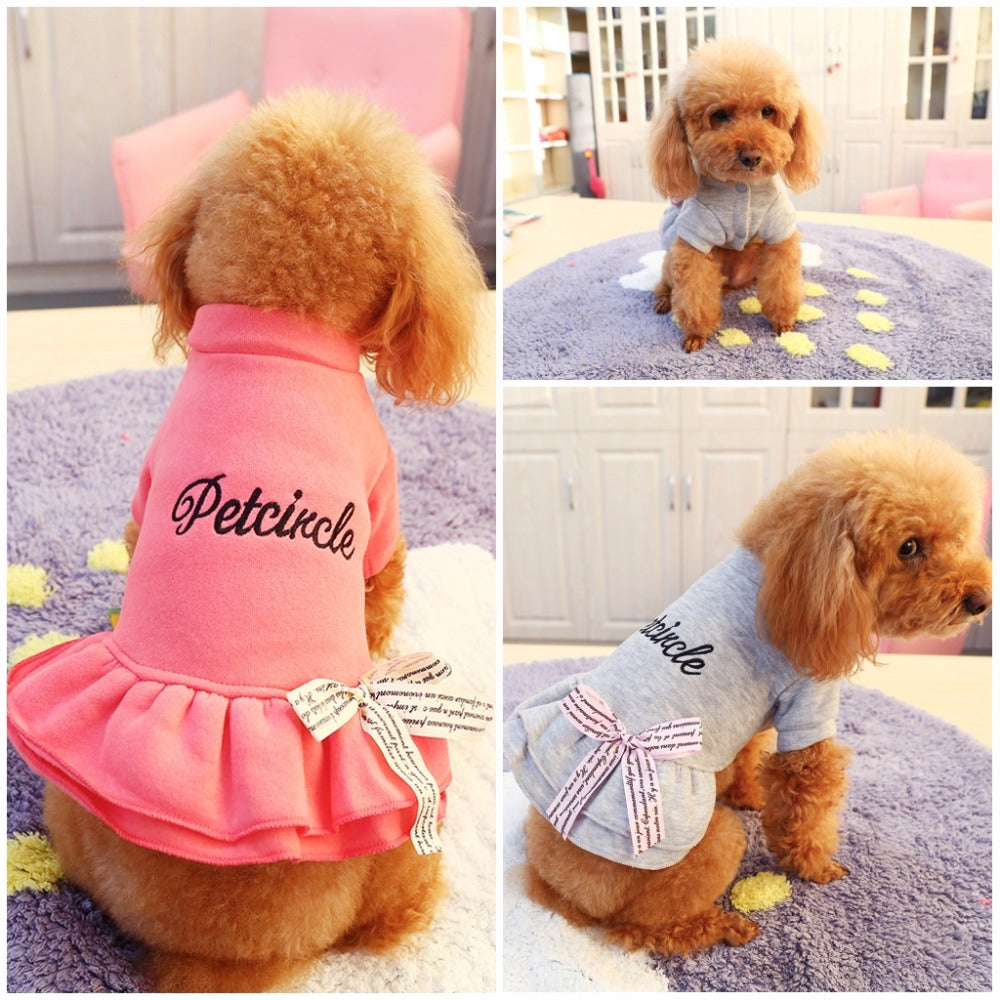 Ruffled Pet Dress with Cute Bow