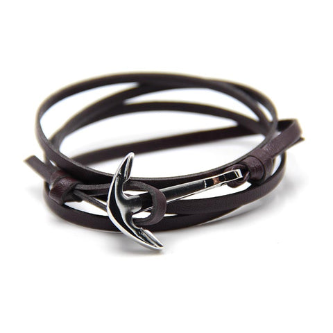 HALF BEND ANCHOR LEATHER MEN'S BRACELET MEN - USA Fashions