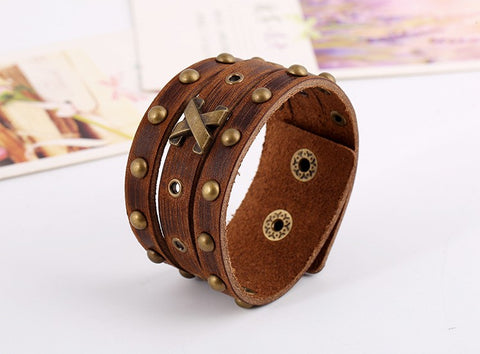 Punk Studded Genuine Cuff Bracelet - USA Fashions