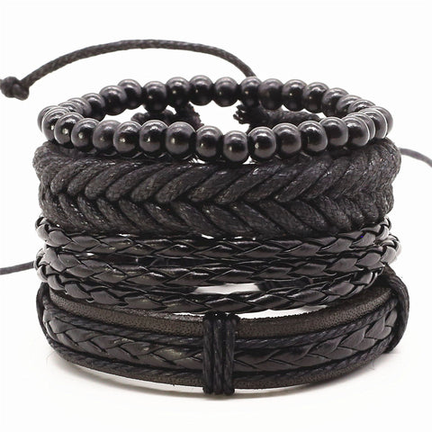New Punk Vintage Rope Handmade Bead Woven Leather Men Bracelet - USA Fashions
