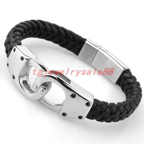 HANDCUFFED STAINLESS STEEL LEATHER BRACELET - USA Fashions