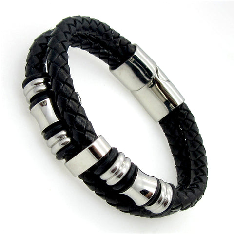 STAINLESS STEEL CIRCLE GENUINE LEATHER MEN'S BRACELET - USA Fashions