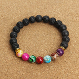 Natural Black Lava 7  Stone Bracelet - USA Fashions