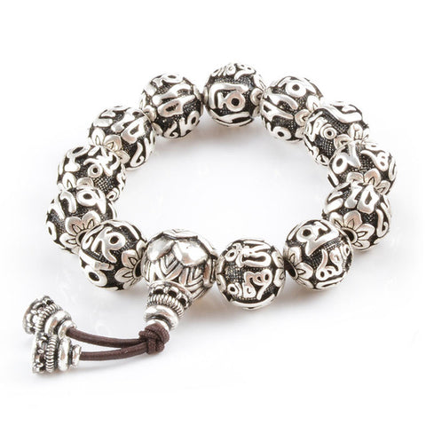 Buddhism Brass Silver Plated Mala Yoga Charm Bracelet - USA Fashions