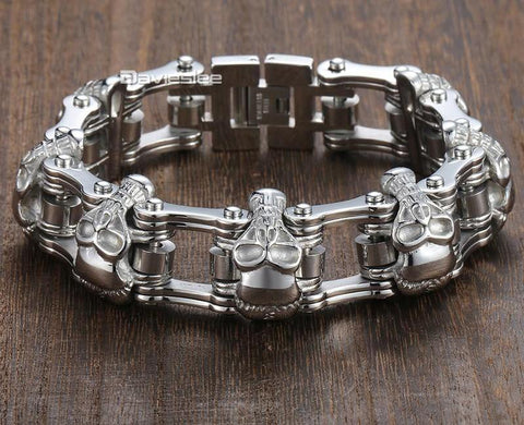 Thick Chain Skull Embed Bracelet - USA Fashions
