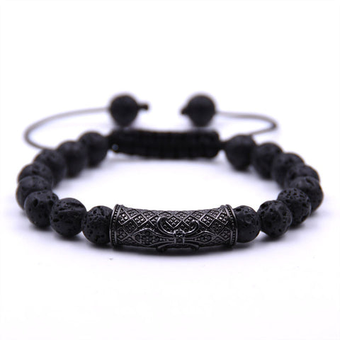 Men Black Lava Stone Adjustable Woven Bracelet - USA Fashions