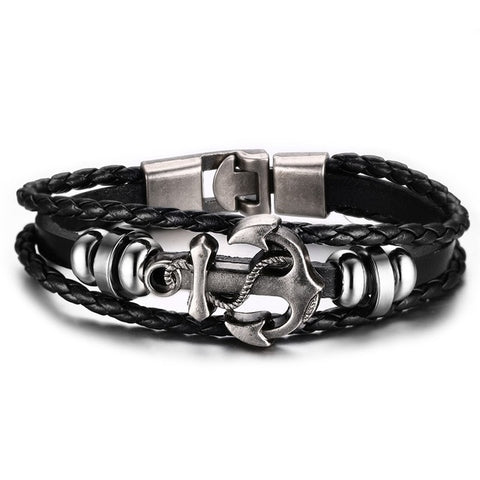 Anchor  Leather Charm Bracelet - USA Fashions