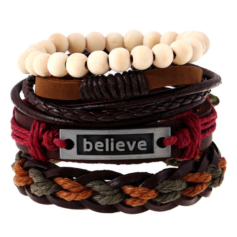 New Fashion Set Believe Genuine Leather Bracelet - USA Fashions