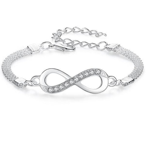 Silver plated Chain Bracelet High-end Luxury Crystal - USA Fashions