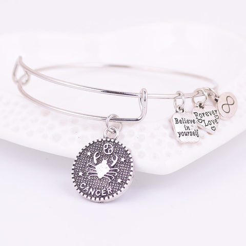 Silver Zodiac Charm Expandable Adjustable Wire  Bracelet - USA Fashions