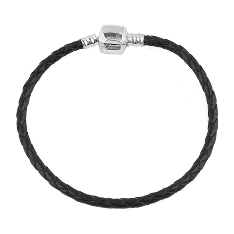 SILVER CLASP GENUINE LEATHER BRACELET - USA Fashions