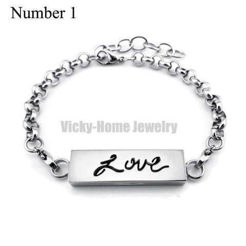 Silver Love Stainless Steel Essential Bracelet - USA Fashions