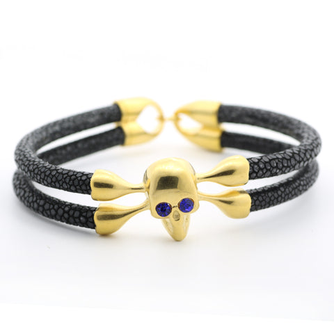 DOUBLE STINGRAY LEATHER SKULL BRACELET - USA Fashions