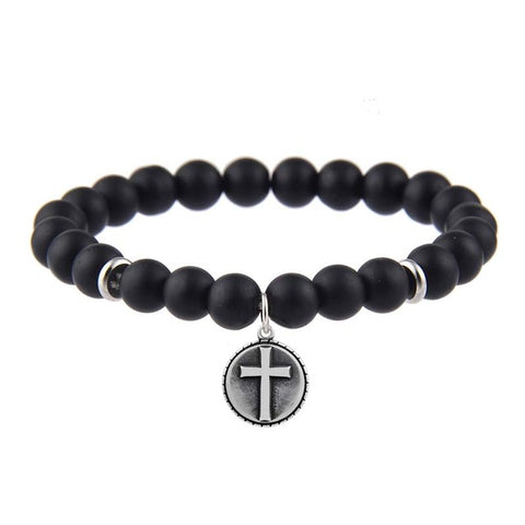 Anchor Cross Black Matte Stone Bracelet - USA Fashions