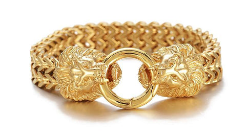 Gold Lion Heads Clasp Double Fox tail Box Link Bracelet - USA Fashions