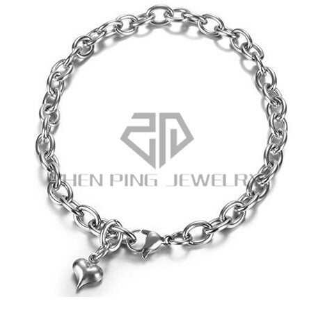 Stainless Steel Snake Chain  Charm Bracelet - USA Fashions