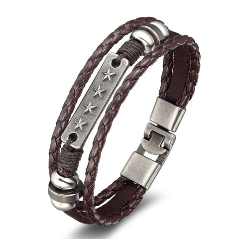 Multi layered  elegant leather bracelet - USA Fashions