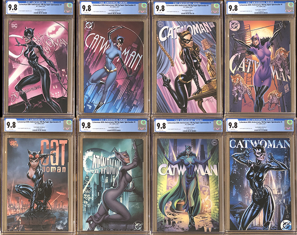Catwoman 80th Anniversary 100 Page Super Spectacular #1 J. Scott Campbell Exclusive A-H CGC 9.8 Set