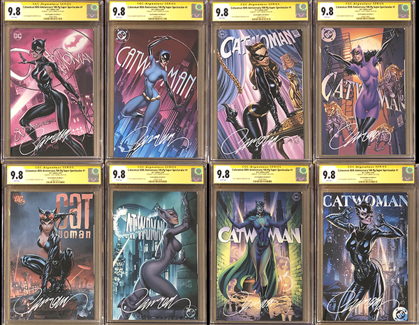 Catwoman 80th Anniversary 100 Page Super Spectacular #1 J. Scott Campbell Exclusive A-H CGC 9.8 SS Set