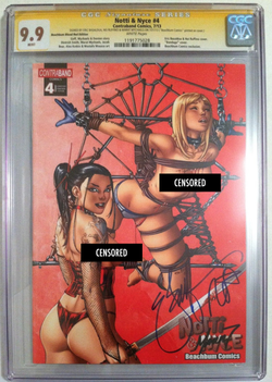 "Notti & Nyce #4 EBAS Naughty ""Blood Red"" BeachBum Comics Exclusive CGC 9.9 SS - Only 5 made!"