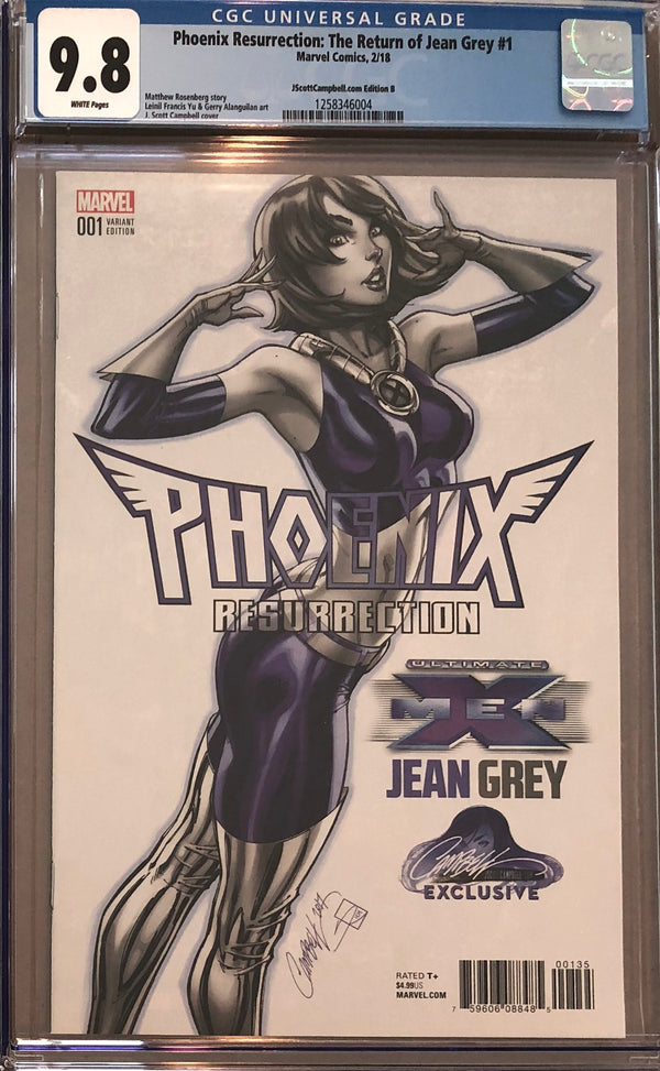 Phoenix Resurrection: The Return of Jean Grey #1 J. Scott Campbell Edition B Variant CGC 9.8