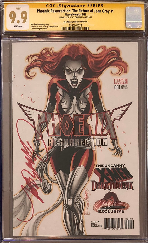 Phoenix Resurrection: The Return of Jean Grey #1 J. Scott Campbell Edition H Variant CGC 9.9 SS