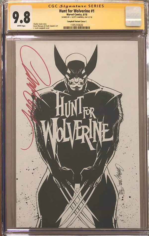 "Hunt For Wolverine #1 J. Scott Campbell Calgary Expo ""White"" C Virgin Sketch Exclusive CGC 9.8 SS"